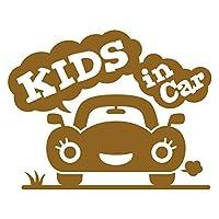 imoninn KIDS in car ステッカー 【シンプル版】 No.25 クルマさん (ゴールドメタリック)