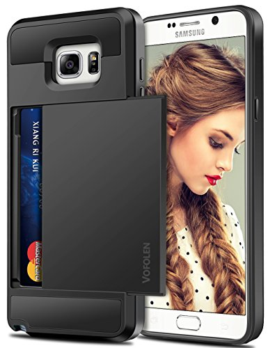 Vofolen Case for Galaxy Note 5 Case Wallet Card Holder ID Slot Dual Layer Protective Cover Anti-Scratch Hard Shell Shock Absorbing TPU Soft Tough Bumper Armor Case for Samsung Galaxy Note 5 (Black)