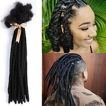 ALIMICE Jet Black Human Hair Dreadlock Extensions 8 Inches 30 Locs 0.8cm Width Human Hair Loc Extension Permanent Dread Extensions for Women Men  Natural Black 8 INCH