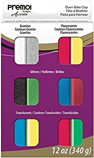 Polyform Premo Set - Sampler - Mixed Effect - 12 Bars X 1oz Polymer Clay Accessory, Pack of 12