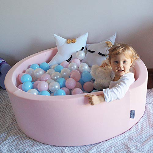 KiddyMoon 90X30cm/200 Balls ∅ 7Cm / 2.75In Baby Foam Ball Pit Certified Made In EU, Pink:Light Pink/Pearl/Transparent