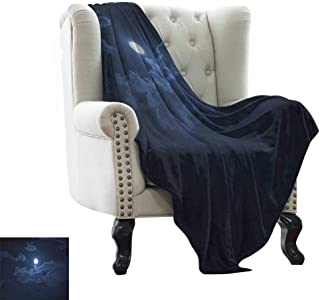 LsWOW Chunky Knit Blanket Night,Full Moon Appearing Among Dark Clouds Scenic Mysterious Midnight Dusk Foggy Heavens, Dark Blue Throw Lightweight Cozy Plush Microfiber Solid Blanket 50