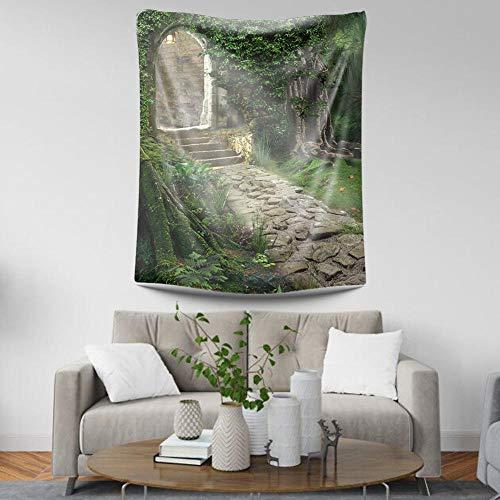 Wandtapestry Boheemse Indiase hippie Trippy Vintage Vogue Print stof, psychedelisch bos stenen poort, groot decoratie voor woonkamer en slaapkamer 95 × 72 cm