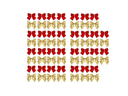 48 Pezzi Fiocchi di Natale, Fiocchi di Nastro di Natale, Decorazione per Albero di Natale con Fiocco, Regali per Ghirlande di Natale, Decorazione Natalizia con Fiocco, Oro + Rosso