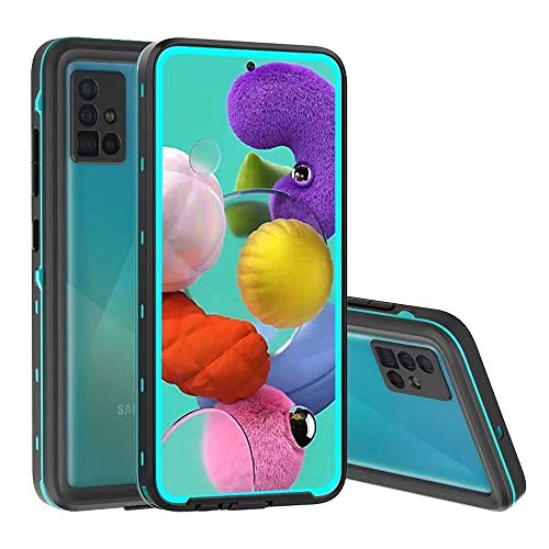 YEON Waterproof Case for Samsung Galaxy A51 4G, IP68 Waterproof Full Body Shock-Proof Dust-Proof Cover Case Built-in Screen Protector Heavy Duty Cover Case for Samsung Galaxy A51 4G (Blue)