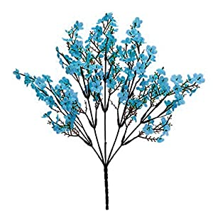 Artificial Flower for Party Home Decoration-1Pc Simulation Gypsophila Handmade Realistic Faux Silk Flower Lifelike Fake Babysbreath for Indoor – Blue