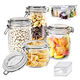 Glass Jars Set 4 Pieces with Airtight Lids Kitchen Preserving Storage Glass Canisters Bottles for Cereal Cookies Sugar Coffee Pickles Gifted 15 PCs Food Storage Bags