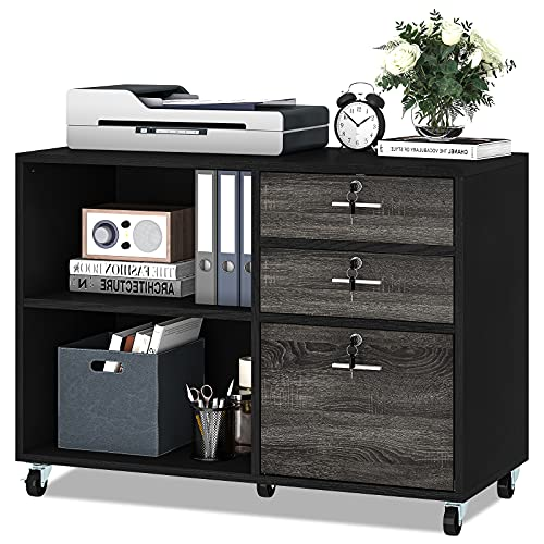 YITAHOME Wood File Cabinet, 3 Drawer Mobile Lateral Filing Cabinet, Storage Cabinet Printer Stand with 2 Open Shelves for Home Office Organization,Black and Grey