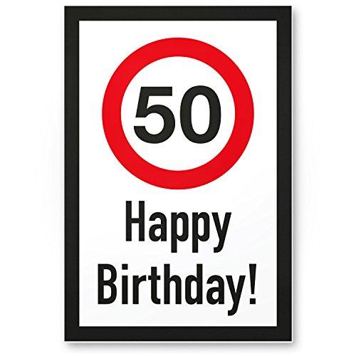 DankeDir! Cartello in plastica con scritta  Happy Birthday  per i 50 anni idea regalo o decorazione per compleanno, regalo di compleanno, cinquant'anni, decorazione e accessorio per feste