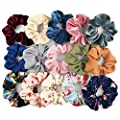 Homerove 15pcs Hair Scrunchies,Velvet,Chiffon,Cotton Elastic Hair Bands,Scrunchy Hair Ties Ropes for Women or Girls Hair Accessories - 5 Vintage Velvet,5 Solid Colors Chiffon,5 Soft Flowered Cotton