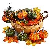 VGOODALL Künstliche Kürbisse Set, 12 Stücke Gefälschte Kürbisse Deko in Grün Orange mit 30 Ahornblätter für Halloween Erntedankfest Herbstdekoration