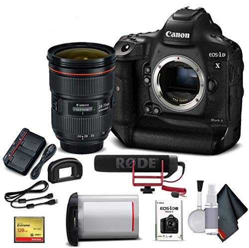 Canon eos-1dx mark ii dslr camera w/canon ef 24-70mm f/2. 8l ii usm lens & mic (international model) - advanced bundle