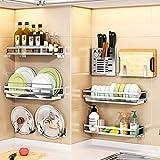 Geschirrkorb Wand-, Edelstahl Lagerregals Küchenleiste getrocknet Aroma Behälterhalter, Essstäbchenhalter - Raum sparen,Silver