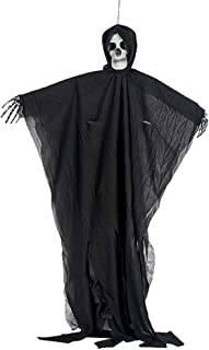 Lovhop 80x50cm Halloween Hanging Ghost with Distressed Hooded Robe Realistic Skulll Face Haunted House Horror DIY Decorations Props