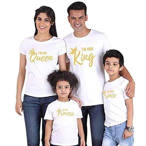 Camisetas King Queen Princess Familiares Camiseta Familiar Padre Madre Hijo Mama Papa Hija Camisetas Estampadas Divertidas para Familia Personalizadas Camisas Hombre Mujer Niño Oversize Blanco 9-10T