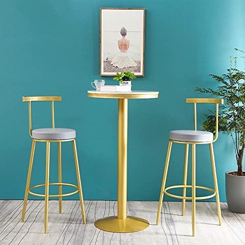 Mesa de bar para pub, mesa de desayuno de cocina con altura de mostrador, tablero de mármol redondo de 21,7 pulgadas con base de metal, apto para pequeños restaurantes, cafeterías y salones
