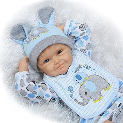 NPK Reborn Baby Doll Soft Silicone Vinyl 22inch 55cm Lovely Lifelike Cute Newborn Real Baby Doll Smile Boy Elephant Bib Birthday Gift
