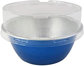 KitchenDance Disposable Aluminum Colored Baking Cups- Creme Brulee Cups- Dessert Cups- 4 oz. Size with Lids (100, Blue w/S...