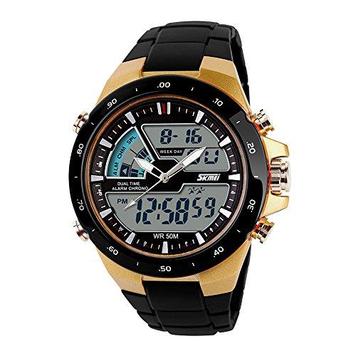 SKMEI orologio da uomo sportivo digitale con luce LED posteriore grande quadrante dell' orologio resistente all' acqua militare orologi casual luminoso cronometro sveglia Simple Army–oro