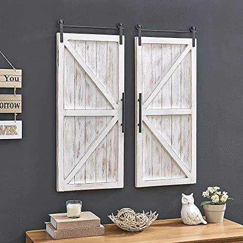 FirsTime & Co. Carriage House Barn Door Wall Plaque Set, 34'L x 14'W, Aged White, Metallic Gray