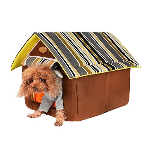 LYH Im Winter Warm, Halbgeschlossenen, Weich Und Faltbar, Abnehmbar Und Waschbar, Haus-förmigen Haustier-Nest (M,Brown)