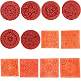 Magnoloran 12 Pieces Wooden Stamps, Retro Vintage Floral Flower Pattern Rubber Stamp Set for DIY Craft Card Making Planner Scrapbooking Supplies