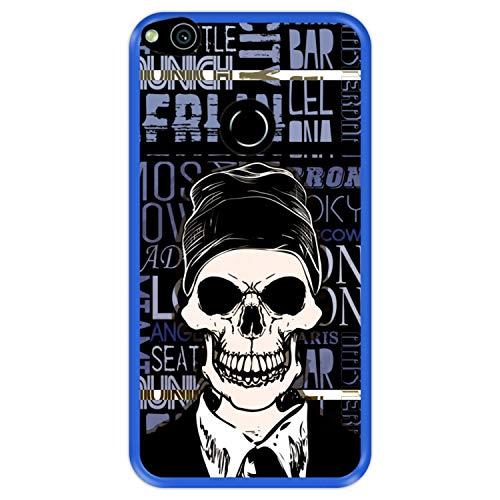 Funda Azul para [ Huawei P8 Lite 2017 - P9 Lite 2017 - Nova Lite ] diseño [ Calavera, Estilo Boho ] Carcasa Silicona Flexible TPU