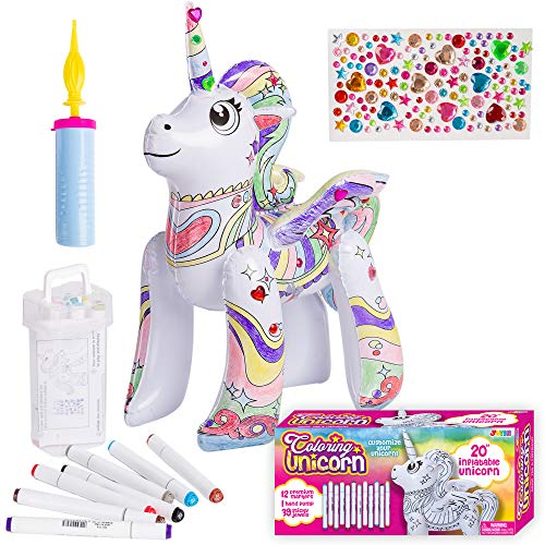JOYIN Inflatable Unicorn Coloring Craft Toy Set for Kids Coloring Activity, Paint Your Own Unicorn Arts and Craft for Girls and Boys, Small Unicorn Toy for Christmas Gift