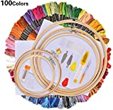 AllRing - Kit de punto de cruz para punto de cruz, incluye 100 hilos de colores, 5 marcos de bambú, 12 de 18 pulgadas, 14 puntos, juego de agujas y agujas