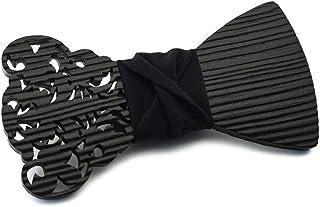 """GIGETTO Papillon in legno spazzolato, Limited Edition""""Barocco"""", con nodo in tessuto nero, cinturino regolabile"""