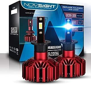 NOVSIGHT H7 10000LM Car LED Headlight Bulbs Conversion Kit,High beam Low Beam Headlamp, Fog Light, HID or Halogen HeadLight Replacement, 6000K Xenon White.1 Pair- 2 Year Warranty