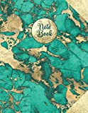 Note Book: Large Journal Notebook Lined (8.5 x 11) 500 Pages for Writing, Work, School (with Page Numbers and Table of Contents) Teal / Gold Effect Marble Design Cover (Large Notebooks)