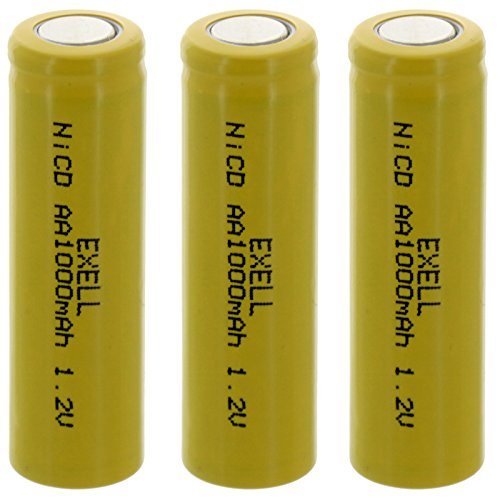 3x Exell AA 1.2V 1000mAh NiCD Flat Top Rechargeable Batteries for meters, radios, hybrid automobiles, high power static applications (Telecoms, UPS and Smart grid), radio controlled devices