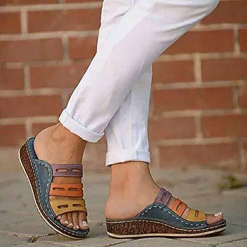 Wygwlg Sandalias de Plataforma cómodas para Mujer Sandalias de tacón de cuña de Cuero de PU Bloque de Color de Verano Talla Grande Zapatillas de Playa para corrección de pie de Dedo Gordo,D-40