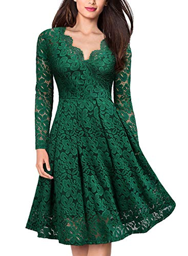 MISSMAY Women's Vintage Floral Lace V Neck Cocktail Party Swing Dress (Large, D-Green-1)