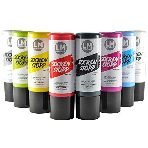LM-Kreativ Socken Stopp Anti Rutsch Set (Set Komplett) - ABS Antirutsch, Sock Stop Creme, flüssige Sockensohle, Rutsch-Stop