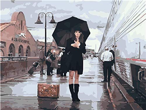 Olieverfschilderij om zelf te maken voor dames met paraplu, decoratie van het huis, geschenk, olieschilderij, handgeschilderd, 40 x 50 cm