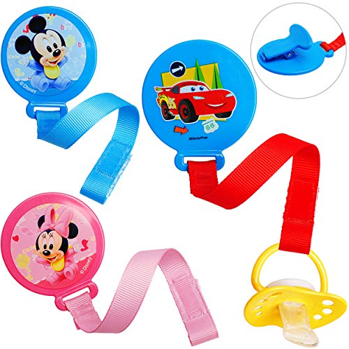 alles-meine.de GmbH Schnullerkette / Schnullerhalter - mit Clip & Stoffband - Jungen Motiv - BPA frei - Klett - rosa pink Kette - Stoff - Schnuller - Spielzeughalter / Schnullerb..