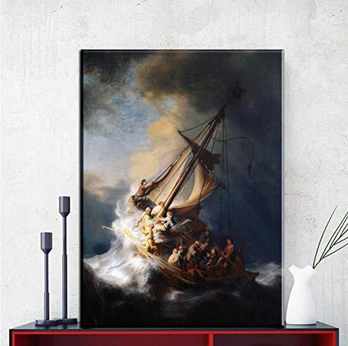 KKLDB Prints op Doek 1 Stuks Rembrandt Schip Olieverfschilderij Hd Muur Kunst Print Beeld Woonkamer Modern Home Decor Poster 39.37 x 27.55 inches (70x100cm) With Frames