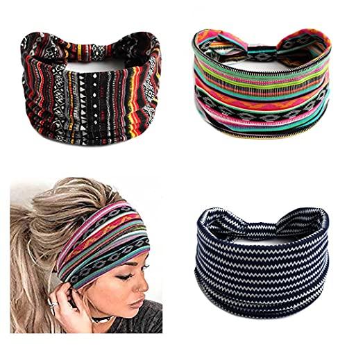 Zoestar Boho, diademas de rayas anchas, negras para la cabeza de yoga, turbante anudado, vendas para el pelo, vendas de cabeza estilo vintage, elásticas y gruesas, para mujeres y niñas (paquete de 3)