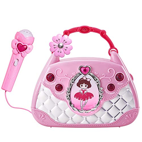 Conomus Musical Toys Karaoke Machine with Microphone for Kids, Learning Educational Toys for 2 3 4 Year Old Girls Gifts Princess Toys