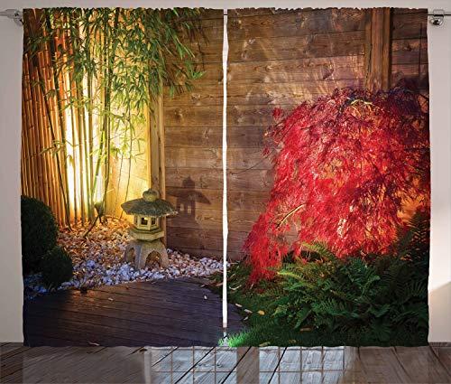 ABAKUHAUS Jardín Cortinas, El bambú japonés, Sala de Estar Dormitorio Cortinas Ventana Set de Dos Paños, 280 x 175 cm, Multicolor