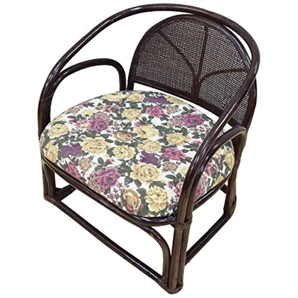 延期する値する連続的籐ラクラク座椅子 無地 花柄 立ったり座ったりが楽々アームレスト付 肘掛付 約49×50×52×30cm 和風 和モダン インテリア 天然素材 ラタン