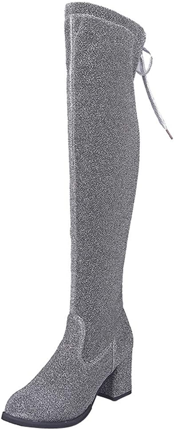 Webb Perkin Women Sexy Fashion Over The Knee Boots High Heels shoes Black Lady Stretch Lace-Up Sequined Cloth High Heels Boots