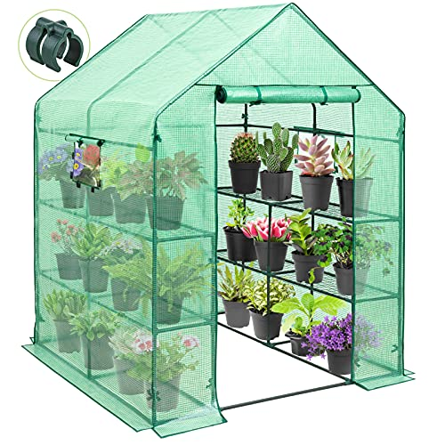 EAGLE PEAK Mini Walk-in Greenhouse 2 Tiers 8 Shelves with Roll-up Zipper Door and 2 Side Mesh...