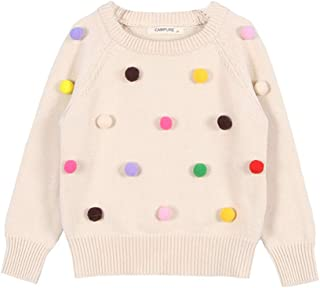 Infant Girls Knit Pullover Cotton Solid Color Cute Ball Design Long Sleeve Tops Light Apricot