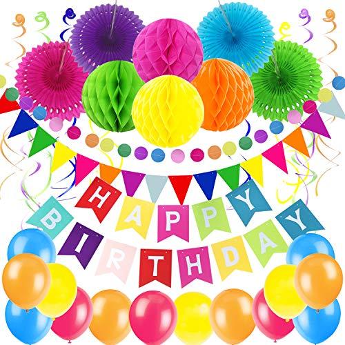 Zerodeco Decoración de Fiesta de cumpleaños, Happy Birthday Banner con Ventiladores de Papel Bolas de Triangulares Guirnalda de Papel Circular remolinos Colgantes y Globos (Multicolor)