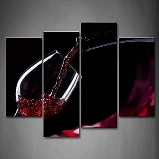 Rouge du vin dans Le Verre Peinture Murale d'art l'image imprimée sur Toile Aliments Photos d'œuvres d'art pour Le Bureau ...