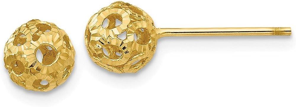 14K Open Diamond Cut Ball Post Earrings