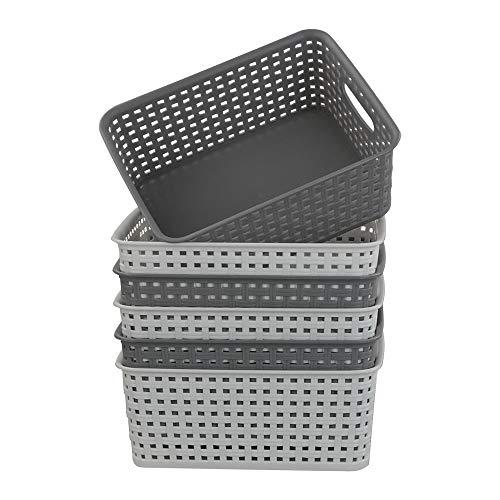 Tstorage Cestas de Almacenamiento Pequeñas de Plástico Blanco y Gris Para Cocina, Baño, Oficina, 6 Paquetes